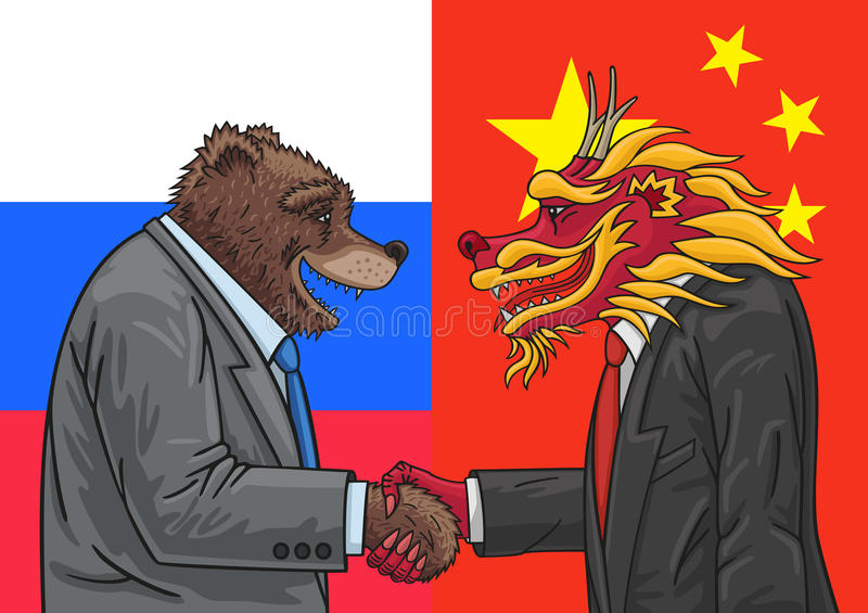 Russian Chinese alliance. Russia and China are much closer together today vector illustration