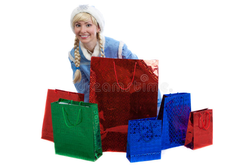 Download Russian Christmas Girl With A Lot Of Bright Gift Stock Photo - Image of coat, blue: 26870942
