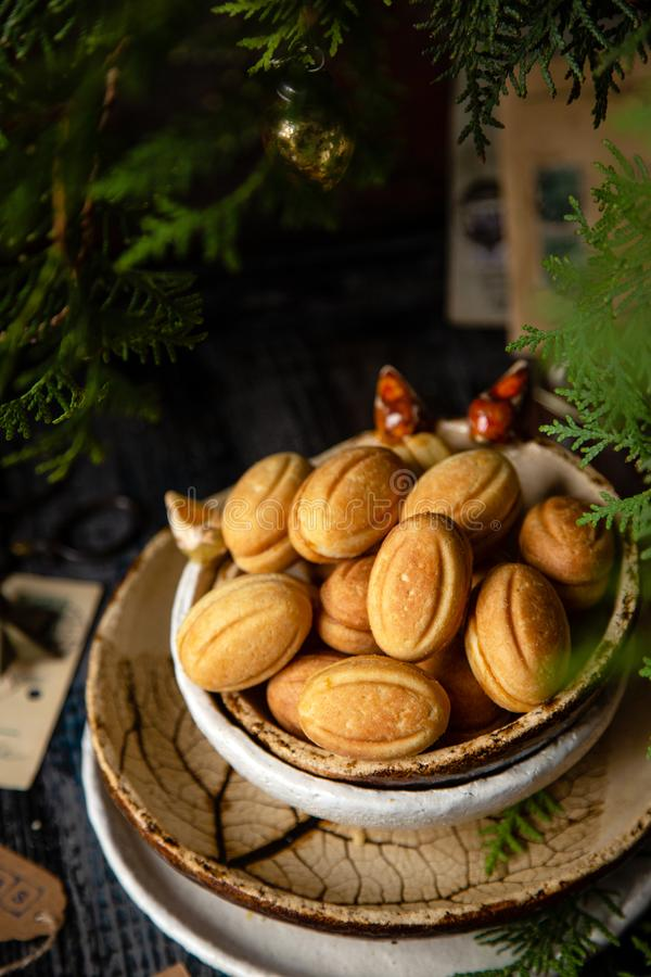 Russian Christmas walnut shell cookies stock photo