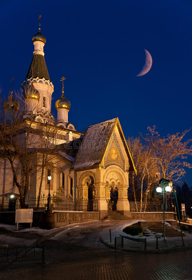 Download Russian Church By Night With Moonrise Royalty Free Stock Image - Image: 19823306