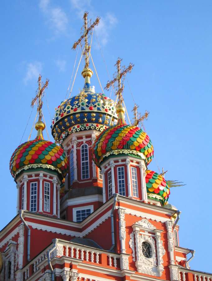 Russian church cupolas royalty free stock images