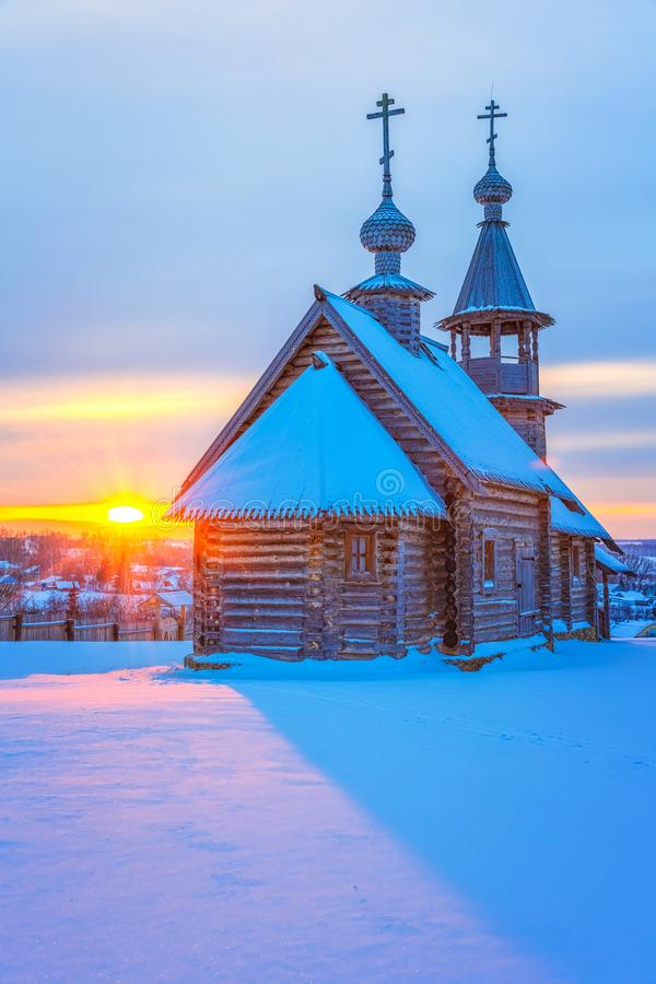 Russian church at sunset stock images