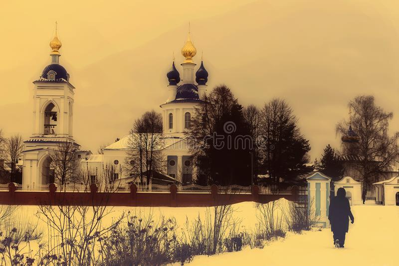 Russian Church in winter, frost stock photography