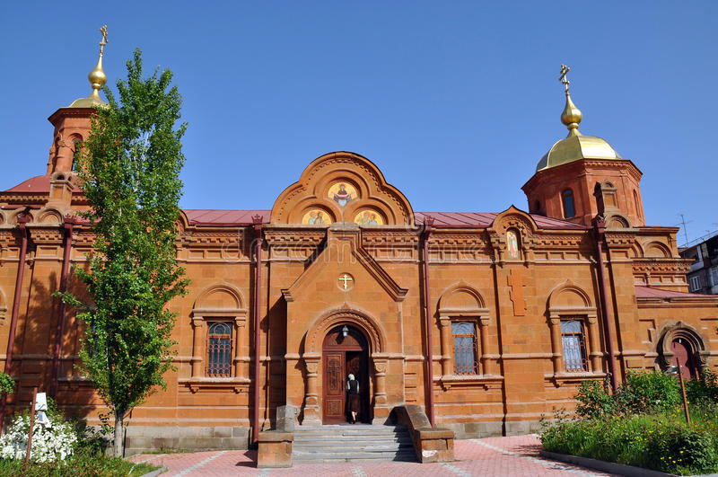Russian Church in Yerevan. Church of the Intercession of the Holy Mother of God in Yerevan. The Holy Mother of God Russian Orthodox church of the 19th century royalty free stock image