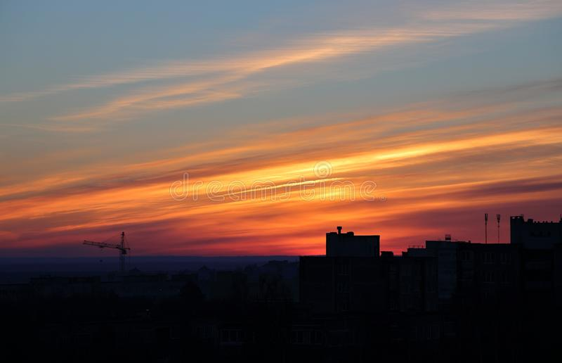 City in the dawning sky. Russian city in the dawning sky royalty free stock photography