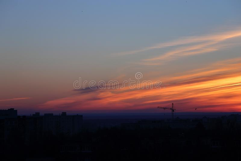City in the dawning sky. Russian city in the dawning sky royalty free stock images