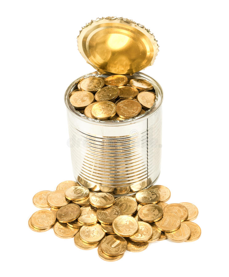 Russian Coins In The Can Royalty Free Stock Photo