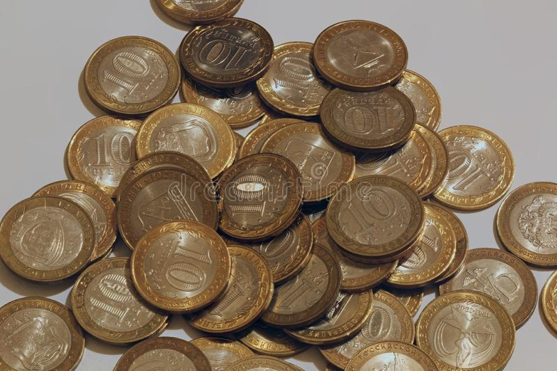 Russian coins `10 roubles` stock images