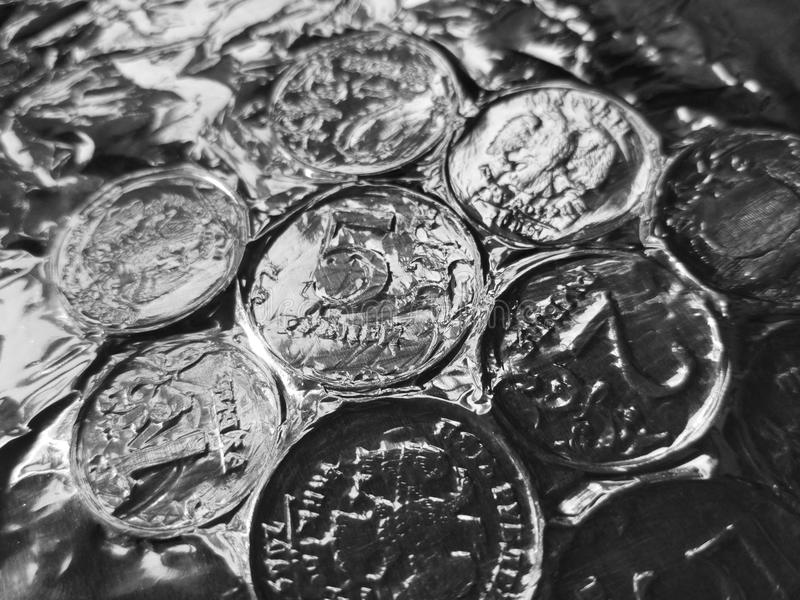 Russian coins rubles on a table. Bank stock image