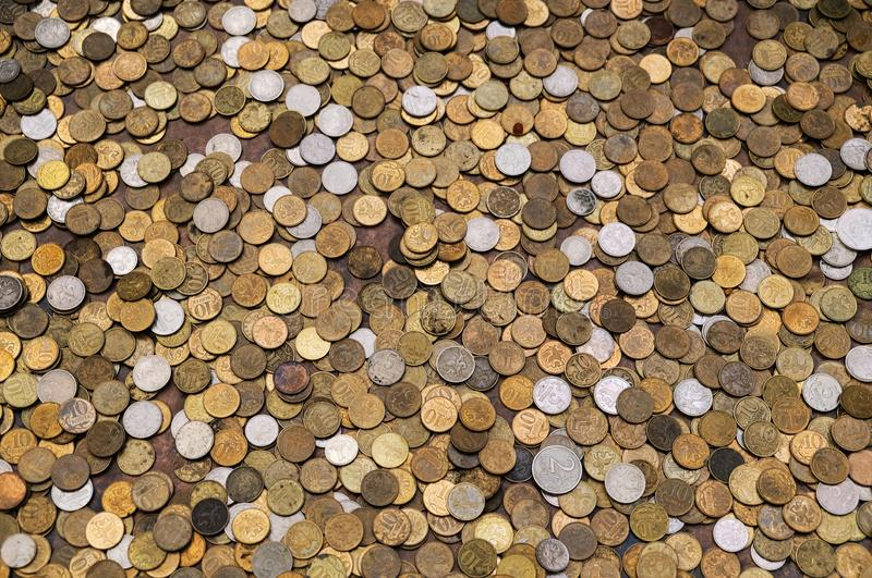 Russian coins texture, considerable quantity of coins, Russian money rouble.  stock photos