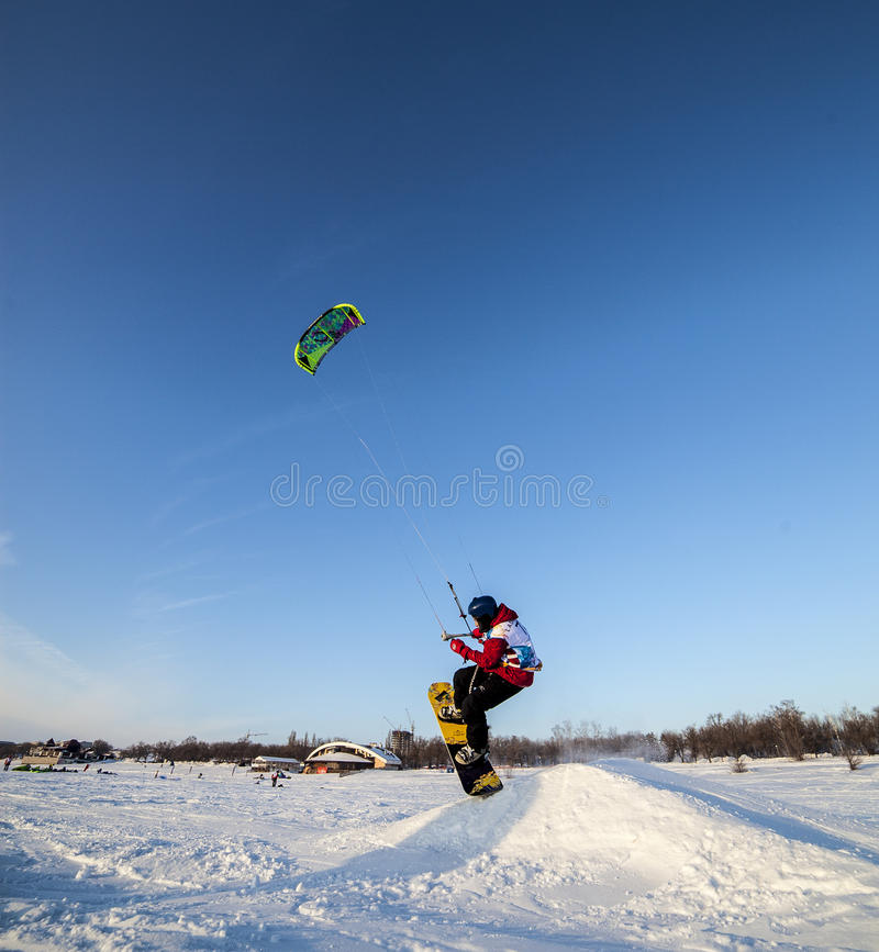 Russian competition for snowkiting Marathon. Togliatti, Russia - February 5-8: All-Russian competition for snowkiting Marathon Zhigulevskoye Sea 2015 stock photos