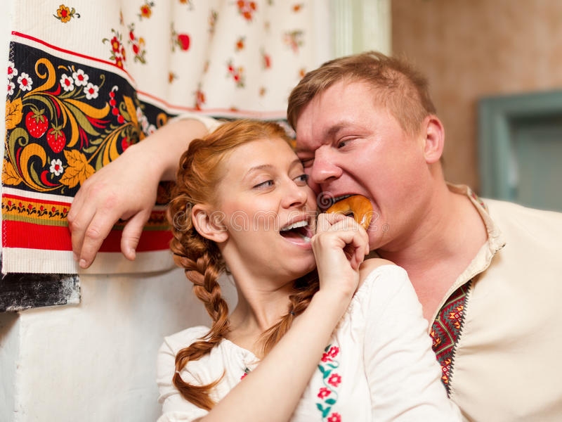 Download russian couple in national costume stock photo image of russian look 31234888