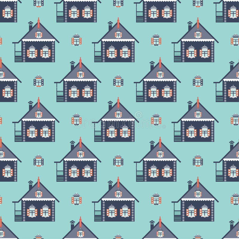 Russian coutry house seamless pattern izba stock illustration