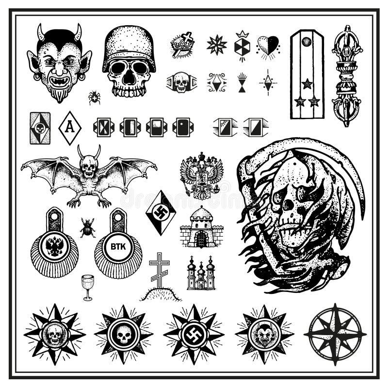 Russian criminal finger tattoos royalty free illustration