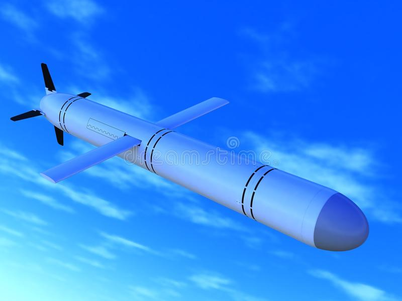 Russian cruise missile. The Russian high-precision cruise missile in flight, a close up royalty free illustration