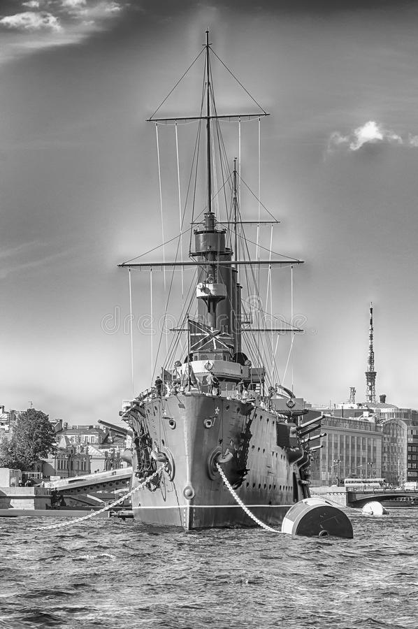 Russian cruiser Aurora, currently a museum ship, St. Petersburg, Russia stock images