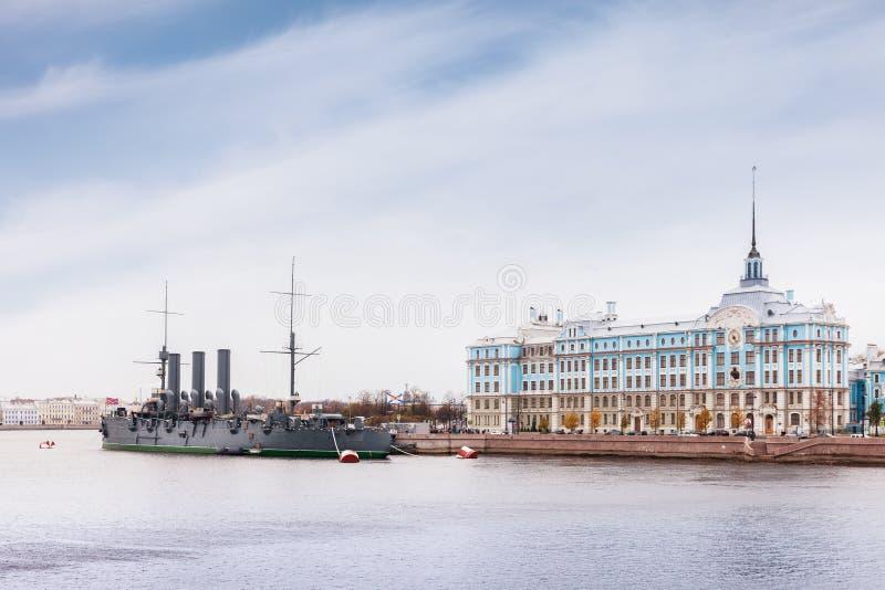 Russian cruiser Aurora in Saint Petersburg, Russia royalty free stock image