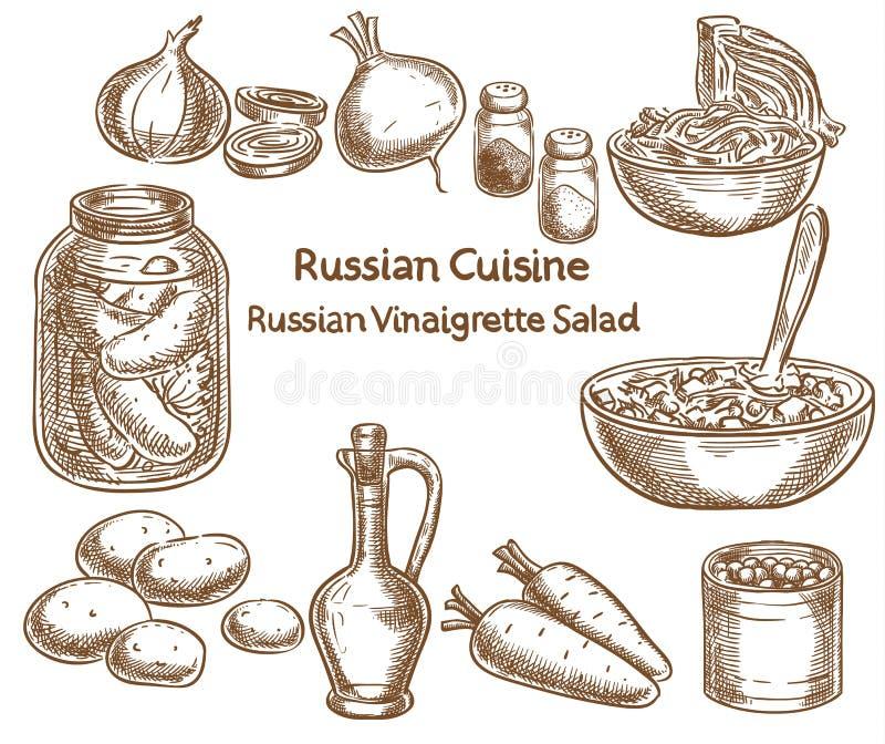 Russian cuisine, russian vinaigrette salad, ingredients, vector. Sketch drawing stock illustration