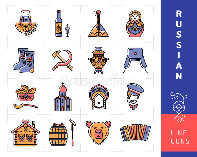 download russian culture color thin line icons russia traditional vector symbols stock vector illustration