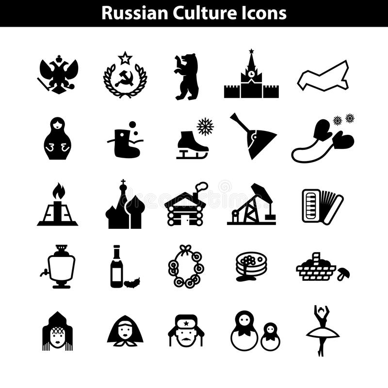Russian Culture Icon Vector Set. EPS royalty free illustration