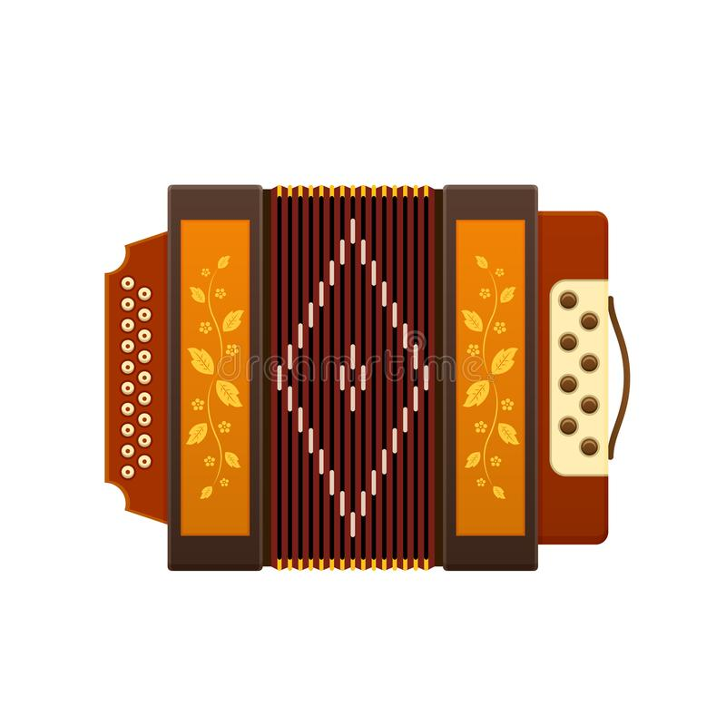Russian culture, landmarks and symbols. Modern musical instrument accordion. Classic accordion, harmonious sound. Realistic keyboard wooden musical instrument stock illustration