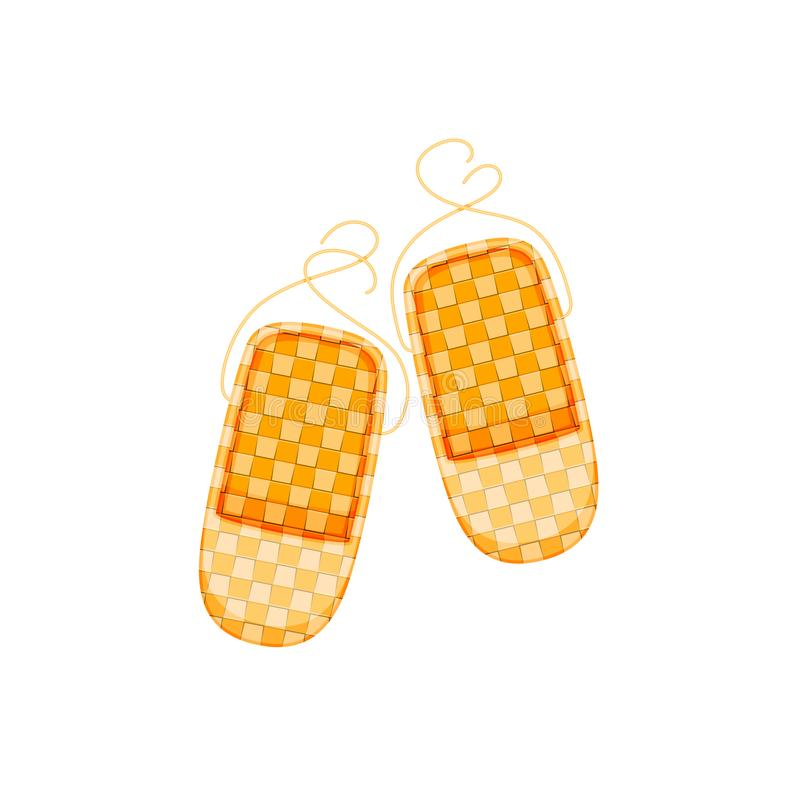 Russian culture, landmarks and symbols. Old traditional wicker bast shoes. Historical footwear, symbol of Russia`s culture, footwear of working peasants royalty free illustration