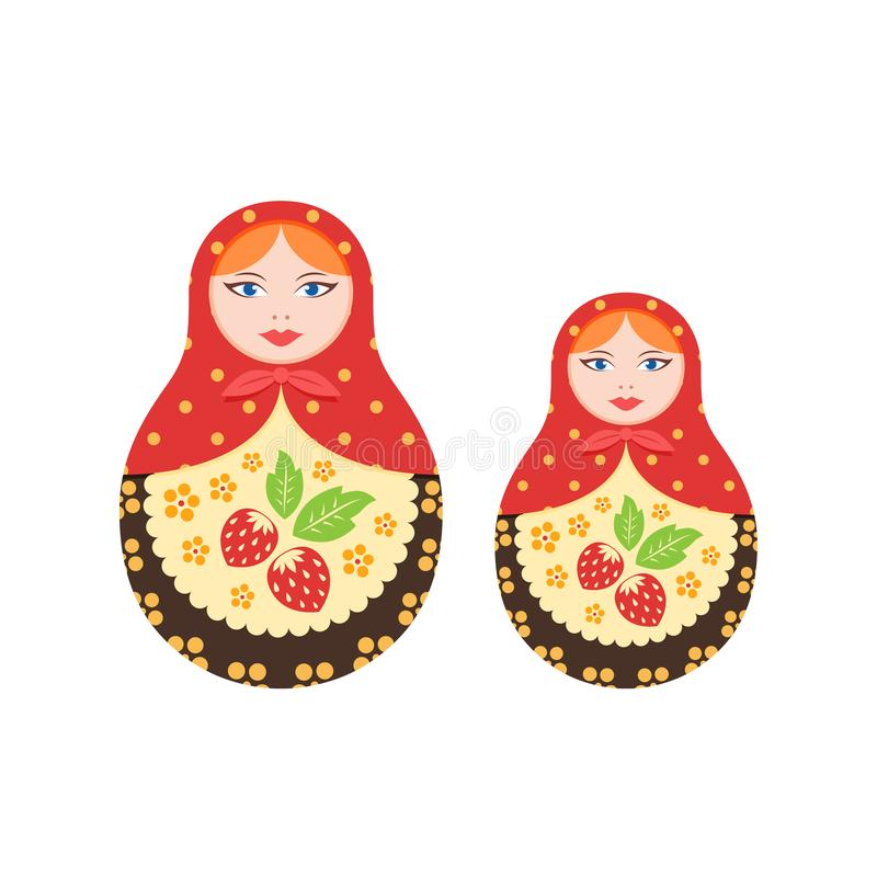 Russian culture, landmarks and symbols. Pair traditional, nested dolls. Symbol of the Russian state, national treasure, children`s toys. Toys decorated with royalty free illustration