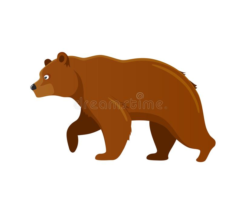 Russian culture, landmarks and symbols. Predatory large animal, brown bear. Symbol of strength and power. Wildlife or zoo grizzly. Vector illustration isolated stock illustration