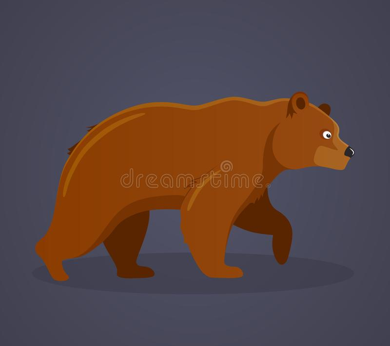 Russian culture, landmarks and symbols. Predatory large animal, brown bear. Symbol of strength and power. Wildlife or zoo grizzly. Vector illustration isolated vector illustration