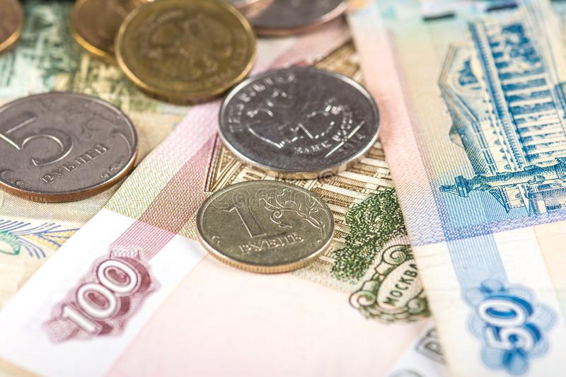 Russian currency ruble devaluation. Devaluation of national currency in Russian Federation royalty free stock images