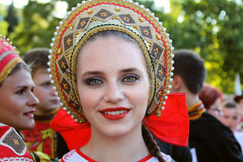 Russian dancer in traditional costume at the International Folklore Festival for Children and Youth Golden Fish royalty free stock image