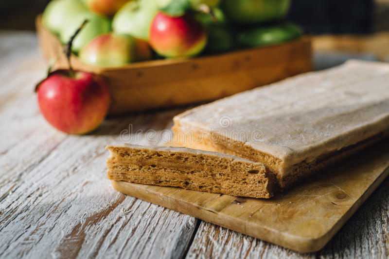 Russian dessert apple pastila stock images