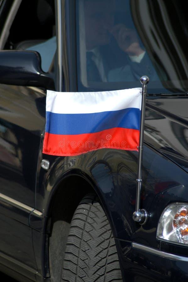 Russian Diplomatic Car. Russian flag at the Russian diplomatic car royalty free stock photo