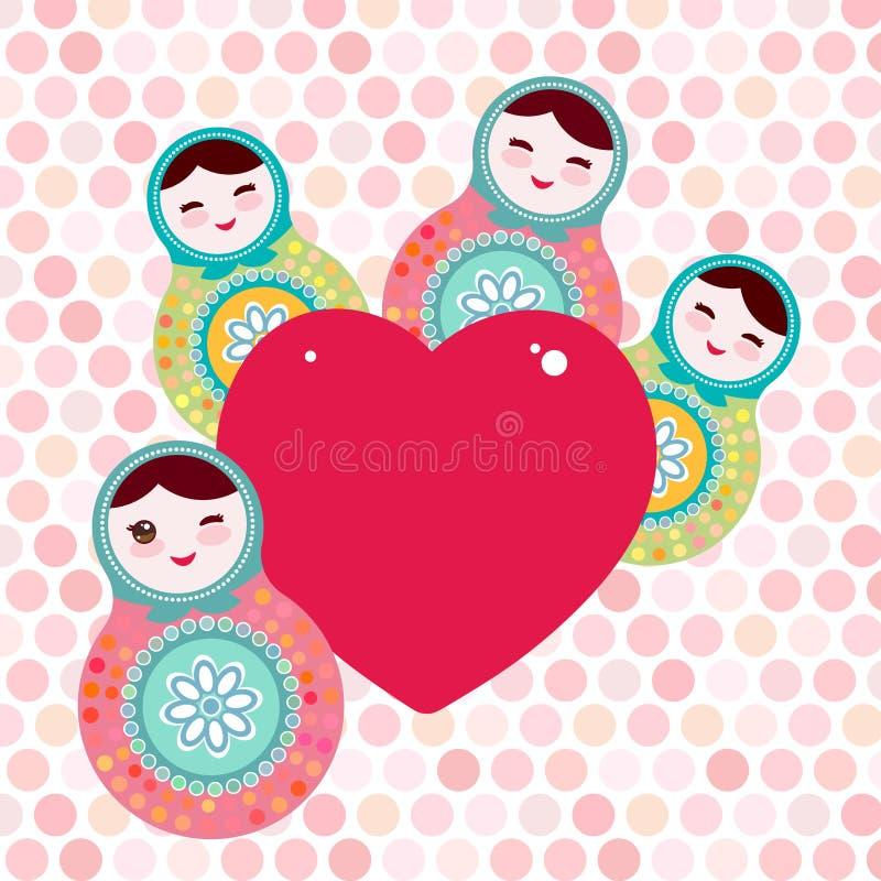 Russian dolls matryoshka, pink blue green colors. Card design pink heart on pink polka dot background. Vector. Illustration royalty free illustration