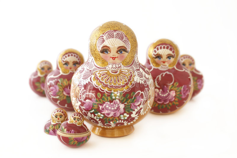 Download Russian Dolls in a v-shape stock image. Image of line - 6451039