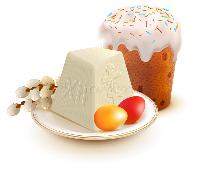 Russian Easter cake, cottage cheese, colorful eggs and willow branch. Isolated on white vector illustration royalty free illustration