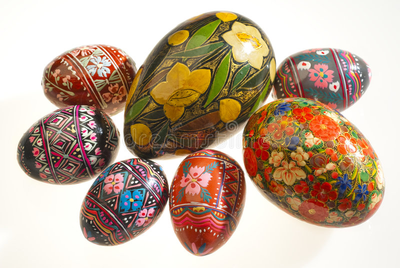 Russian eggs. Wooden eggs hand painted by Russian artists stock images