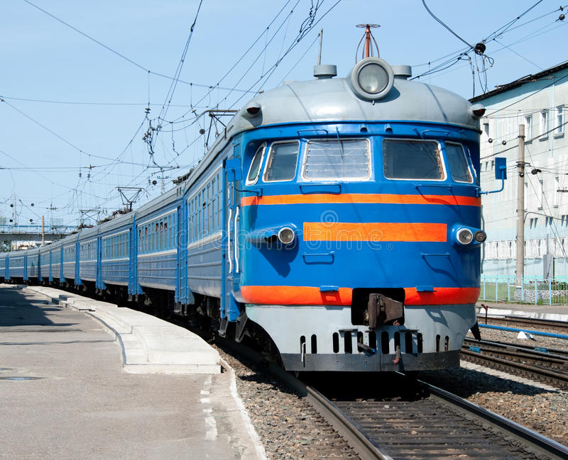 Russian electric train at station royalty free stock image