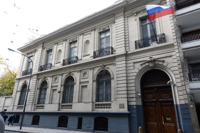 Russian Embassy in Buenos Aires. Buenos Aires/Argentina-5/25/19: An exterior view of the Russian Embassy in Buenos Aires, Argentina royalty free stock photos