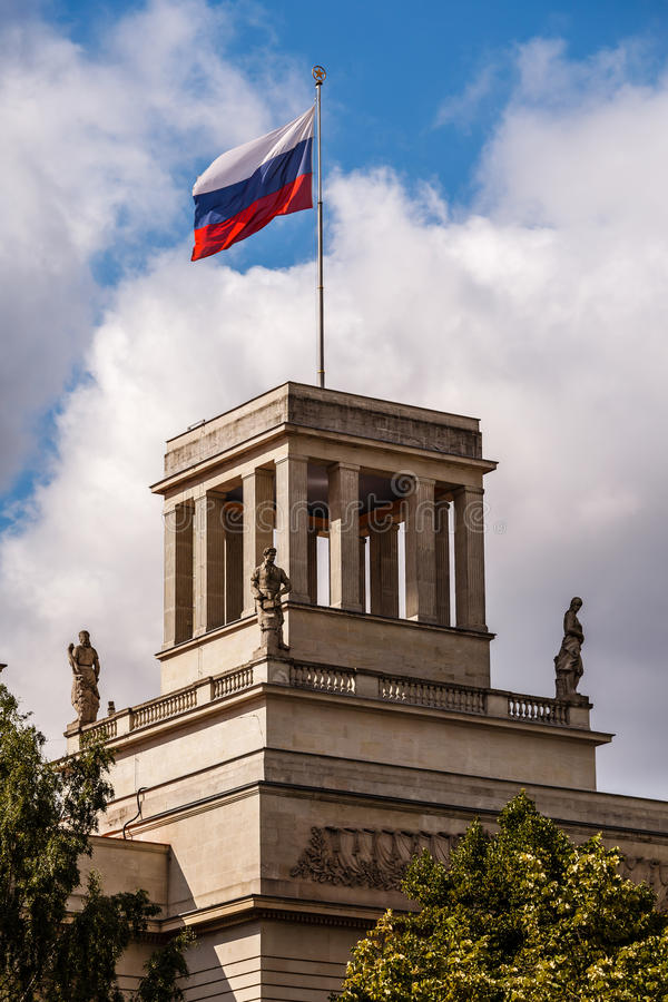 Russian Embassy Building and Russion Flag in Berlin. Germany stock photography