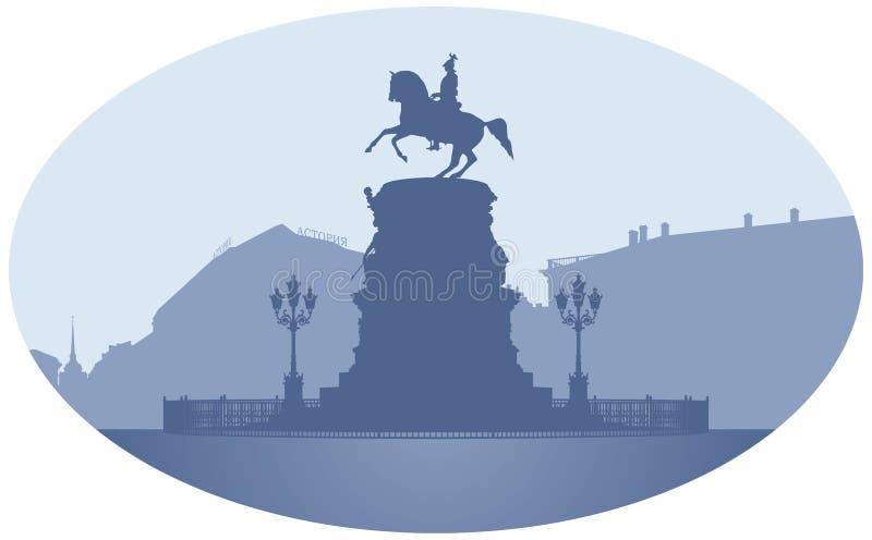 Russian Emperor Nicholas I monument in Saint Petersburg royalty free illustration