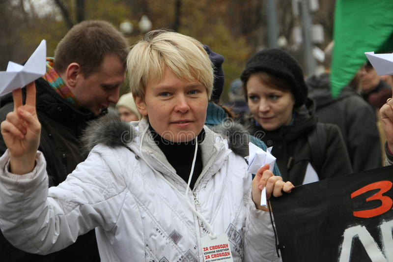 Russian environmentalist Yevgeniya Chirikova. Moscow, Russia - 27 October 2013. The March of the Russian opposition in support of political prisoners. Russian stock image