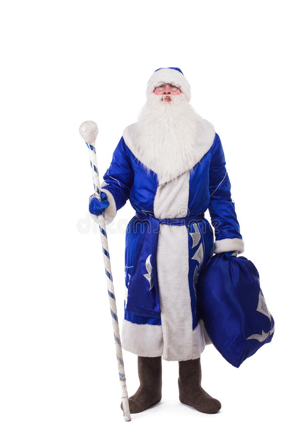 Russian Father Christmas In Blue Costume Royalty Free Stock Photos
