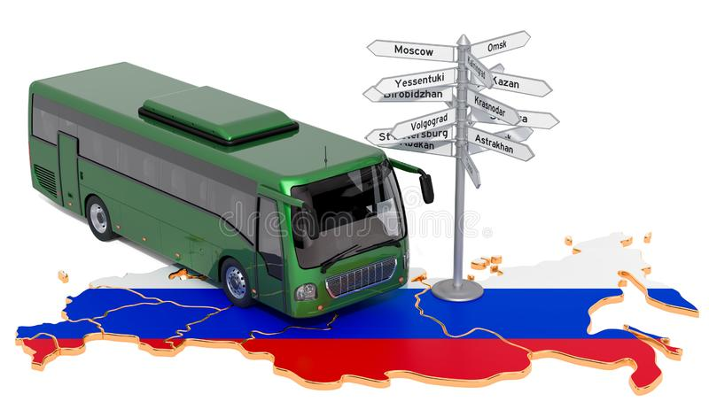 Russian Federation Bus Tours concept. 3D rendering. Isolated on white background stock illustration