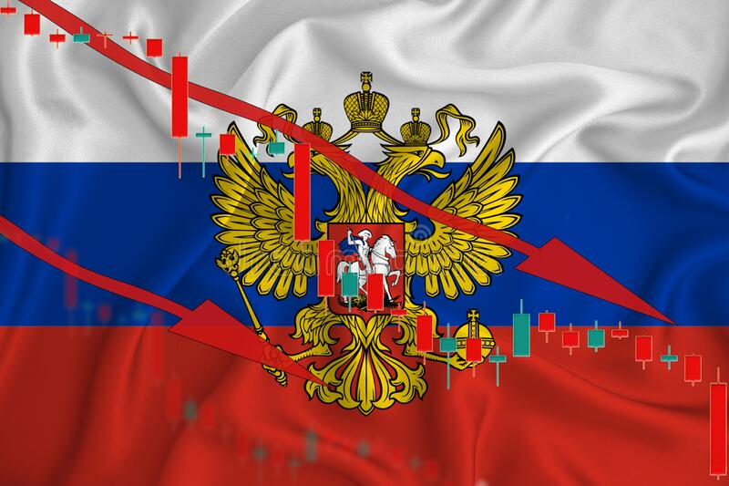 Russian Federation flag, the fall of the currency against the background of the flag and stock price fluctuations. Crisis concept. With falling stock prices of royalty free stock image