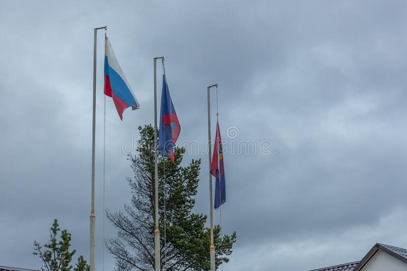 Russian Federation flag, Murmansk region flag, Sami flag.  royalty free stock photography