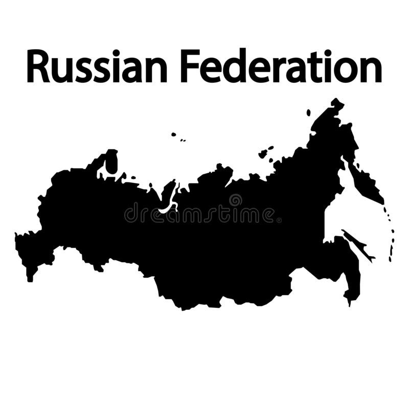 Russian Federation map filled black sign. Eps ten royalty free illustration