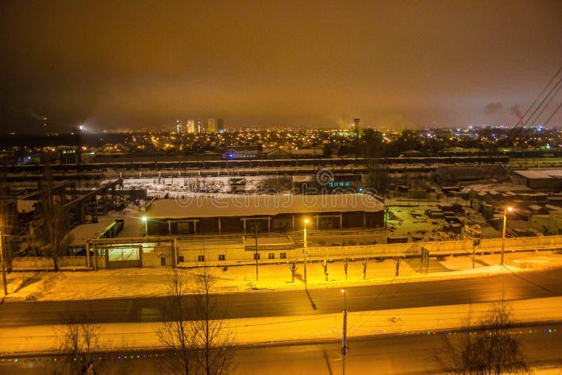 Russian Federation. Night photo-railway district of the city of Penza of the Russian Federation royalty free stock photography