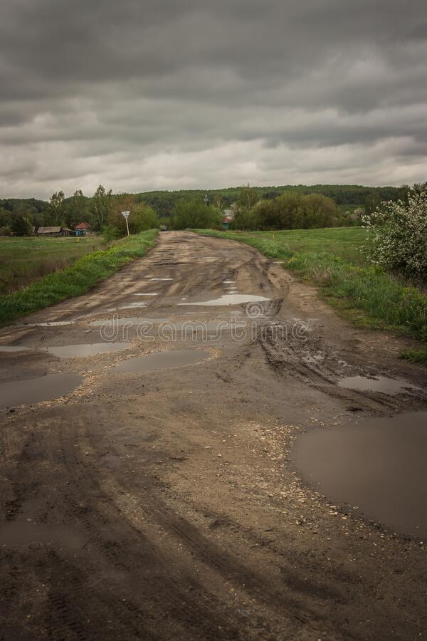 Russian Federation. Terrible roads in rural areas in the Russian Federation royalty free stock photography