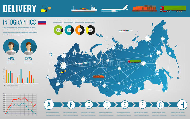 Russian Federation transportation and logistics. Delivery and shipping infographic elements. Vector. Illustration vector illustration